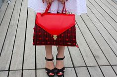 Red Tweed Handmade handwoven ladylike bag by SimoniTextileDesigns