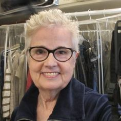 c08c910cad8 Author Barbara Falconer Newhall tries out her new white hair with a navy  outfit. Photo