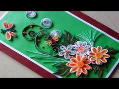 Paper Quilling | How to make Beautiful Quilling Heart and swans..Quilled christmas Greeting Card - YouTube