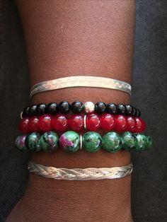 Sterling Silver Stack Bracelets, Black Onyx, Red Jade, Ruby Zoisite.  Etsy.com/uk/shop/Maree Angelique