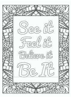 Adult Coloring Book Printable Coloring Pages, Coloring Pages, Coloring Book for Adults Instant Download Inspiration and Affirmation 1 page 3