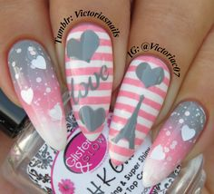 "victoriasnails: "" These came out much better than I expected! Someday I will visit the city of love… Used in this mani: Sinful Colors - Snow Me White, Love Sprinkles Essie - Groove Is In The Heart, Now And Zen HK Girl Topcoat Eiffel Tower stencils,..."