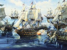HMS Victory breaks the enemy line at the Battle of Trafalgar, 1805