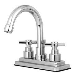 "Kingston Brass Chrome 2 Handle 4"" Centerset Bathroom Faucet w Pop-up KS8661EX"