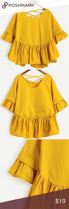 NWOT RUFFLE bell sleeve top Mustard yellow color Tops