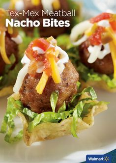 Tex-Mex Meatball Nacho Bites | Walmart - Make your next holiday party a true fiesta with this quick, simple recipe for Tex-Mex Meatball Nacho Bites made with Farm Rich Original Meatballs.