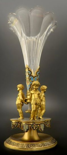 19th C. French Bronze & Champleve Enamel Figural Vase