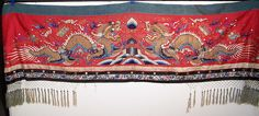 Antique Chinese Dragon Gold Couching Embroidery Mirror Red Silk Wedding Banner Front view.