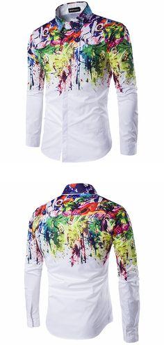 US$24.99 + Free shipping.Men shirt, lapel long-sleeved men shirt, paint printing men shirt. Slim fit, casual, dating. Material: Cotton Blended.