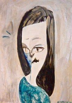 Cautious #contemporaryart #pop #comic #modern #art #painting #portrait #abstract #cat #girl #woman #japan