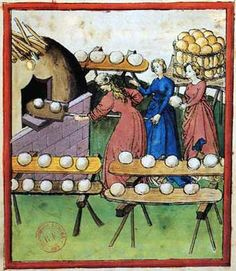 Baking in the community oven.  The Tacuinum Sanitatis is one of the best books featuring everyday cooking scenes from the 15th century.