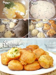Kahvaltılık Peynirli Lokma Tarifi, How To Make It - Female Recipes - Breakfast Cheese Bite Recipe 3 eggs, 3 tablespoons of yogurt, 1 cup of grated cheese or curd cheese - Breakfast Items, Breakfast Recipes, Mezze, Good Food, Yummy Food, Cheese Bites, Recipe Mix, Recipe Ideas, Yogurt
