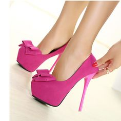 Pink Platform Stiletto Pumps with bows