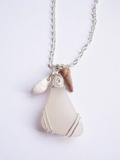 Genuine Scottish Sea Glass Pendant Off White Triangle Shaped Beachcomber Necklace Polymer Clay Shells Silver Beach Jewellery