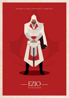 Assassin's Creed Minimalist poster with Ezio Assassins Creed Series, Assassins Creed Unity, Video Game Art, Video Games, Pc Games, Connor Kenway, Minimal Poster, Batman, Cultura Pop