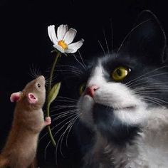 Spread the love! Little mouse offering a flower to a white and grey kitten. Oil painting by Marina Dieul Grey Kitten, Grey Cats, Grey And White Cat, Mouse Illustration, Kinds Of Cats, Animal Antics, Cat Mouse, Color Pencil Art, Appliques