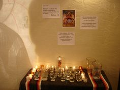 This prayer station, instead of lighting candles in memory of people who are thirsting, we poured a glass of water for those who thirst.