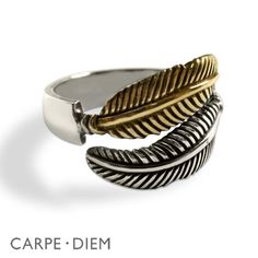 Sterling Silver Feather Ring Two Tone Rings by carpediemjewellery