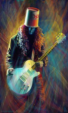 Buckethead by AnnikeAndrews on DeviantArt Guitar Art, Music Guitar, Art Music, Guns N Roses, Hero Poster, Best Guitar Players, Love Wall Art, Wolf, Instruments