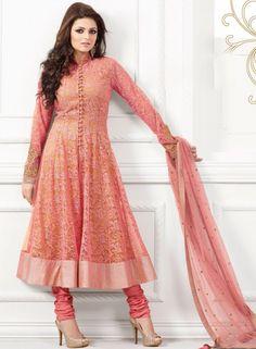 Abaya Style Net Anarkali Salwar Kamij In Peach . Shop at - http://www.gravity-fashion.com/abaya-style-net-anarkali-salwar-kamij-in-peach-gf7140573.html