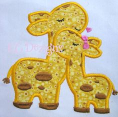 Mommy and Baby Giraffe Machine Applique Embroidery Design