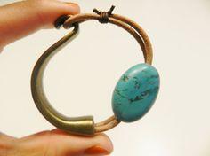 Blue turquoise bracelet stones bracelet blue bracelet by Larritzi, €18.00