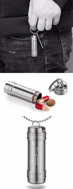 EDC Titanium Biocompatible Keychain Pill Fob for emergency medicines everyday carry.