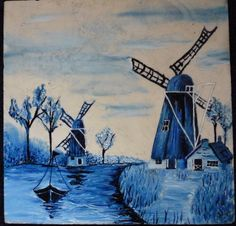 "Windmill and Sailboat Granite Tile Blue Dutch Delft Folk Art 6"" x 6"". This is an awesome Painting of a Dutch folk art windmill's and sail boat. It is oil paint on granite. I have fun trying to find new art projects to free my mind and increase my art skills. This piece was my first oil painting on granite using the Dutch folkart Delft style. I can make custom tiles for you using your provided pictures or ideas. Please contact me with any questions. All the money generated from the sale of..."