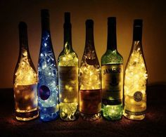 Wine bottles with lights. DIY