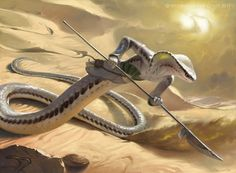 MtG Art: Sidewinder Naga from Hour of Devastation Set by Victor Adame Minguez - Art of Magic: the Gathering Mythical Creatures Art, Mythological Creatures, Fantasy Monster, Monster Art, Snake Monster, Creature Concept Art, Creature Design, Dark Fantasy Art, Fantasy Artwork