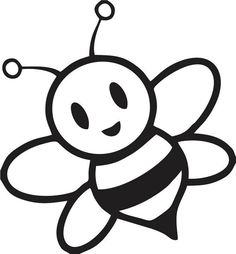 Clipart of a cartoon bee. Clipart illustration by Rosie Piter exclusively for Acclaim Images. Cartoon Bee, Cute Cartoon, Honey Bee Cartoon, Cartoon Crazy, Bumble Bee Clipart, Bumble Bees, Silhouette Cameo, Bee Coloring Pages, Bee Pictures