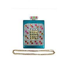 Perfume Bottle Look Clutch Turquoise - Wholesale Fashion Purses