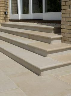 Harvest Sawn Sandstone Paving with matching bullnose step treads. This stone works in contemporary and traditional garden settings Patio Steps, Garden Steps, Patio Ideas With Steps, Yard Ideas, Garden Paths, Garden Paving, Garden Landscaping, Landscaping Ideas, Patio Design