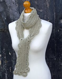 Alice Crochet Skinny Summer Scarf  Putty by BlueberryBarnKnits, £25.00