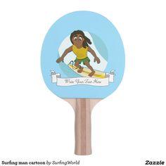 Surfing man cartoon Ping-Pong paddle