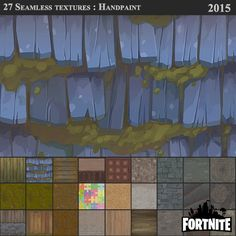 Fortnite: unlit seamless textures 2015, Tangi Bodio on ArtStation at https://www.artstation.com/artwork/91Vby