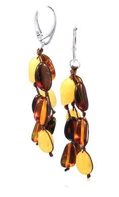 Honey, Yellow & Cherry Amber & Sterling Silver Earrings
