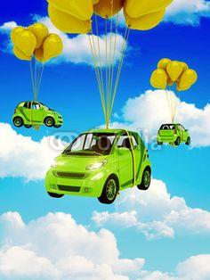 Auto verde con Palloncini Gialli