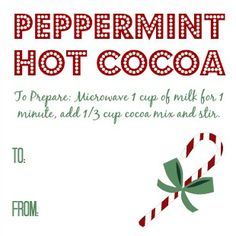 Hot Cocoa Peppermint gift tag