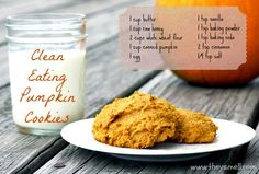 Clean Eating Pumpkin Cookies Recipe - easy and tasty pumpkin cookies using clean ingredients such as raw honey and whole wheat flour. Makes 25-30 cookies.