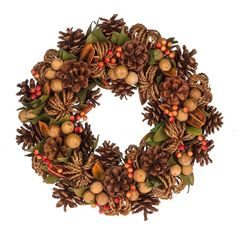 Autumn Wreath with Pinecones Fall Leaves Harvest Decor #Midwest
