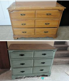 Stained top, painted bottom with distressed edges & antiqued with tinted glaze.