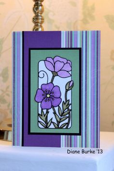 greeting card  Another favorite of mine, I made this after I participated in my card club class.  this was done with outline stickers, microfine glitter, and alcohol markers to color.    My Mom's favorite color is p…