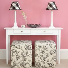 Behind her door wall. Table with ottoman seat. Lamps frame sides! Collage wall or mirror above! Doubles as a future vanity with mirror...