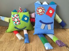 Scrappy fabric monster toys/pillows, great for using up all those leftover fabric scraps.  These are made using The Craft Cotton Company fabrics, free tutorial over on the link