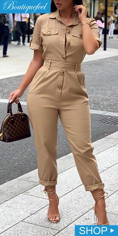Short Sleeve Buttoned Cargo Jumpsuit in 2019 Classy Dress, Classy Outfits, Stylish Outfits, Elegant Outfit, Bodycon Dress With Sleeves, Dresses With Sleeves, Fashion Pants, Fashion Outfits, Mode Lookbook