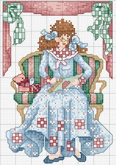 point de croix - cross stitch patchwork dress