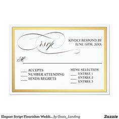 Elegant Script Flourishes Wedding RSVP Card - A beautifully elegant wedding RSVP card with lovely calligraphy script RSVP text. Edit the response date and other text as you desire. This design includes entree choice selections for your guests. Sold at Oasis_Landing on Zazzle.