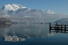 Fed by water from melting snow in the spring, Lake Annecy is the second largest natural lake in France. Alps, Haute-Savoie.