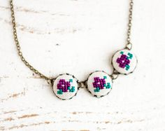 Floral necklace - Cross stitch necklace - Purple flowers - textile necklace - Summer collection by Skrynka n022